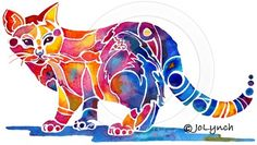 Watercolour cat  http://www.etsy.com/listing/72590382/calico-cat