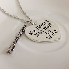 Doctor Who My Heart Belongs to Who Necklace