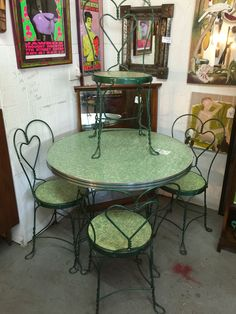 Very cute retro vintage ice cream parlor table with four chairs selling for  $299  Metal ChairsSoda FountainAntique ...