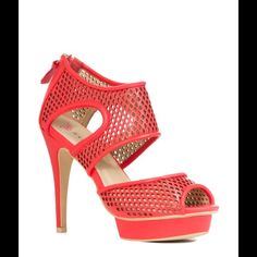 JUSTFAB Coral Red Cutout Peep Toe Heel Sandals Sporty, sexy and just plain irresistible. Athletic-chic perforated sandal with back zipper. The island platform offers just the right height.  Shoe Details: New with box Size: 8.5 Color: Coral Heel Height: 5 inches Platform Height: 1/2 inch  Materials: Synthetic Upper, Man Made Sole JustFab Shoes Heels
