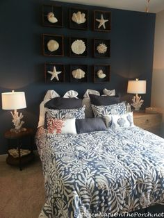 Deko Nauticial Bedroom with Coral Lamps Bed shopping advice for the tired shopper It is a fact that Small Master Bedroom, Master Bedrooms Decor, Beach Themed Bedroom, Ocean Room, Bedroom Decor, Coastal Bedrooms, Home Decor, Room Decor, Apartment Decor