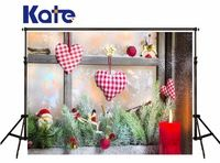 Kate Digital Printing Christmas Studio Backgrounds Windows Red Beads Love Backdrop No Wrinkles For Baby Photography