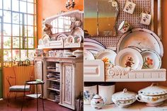 Una casa repleta de color  Un mueble blanco, restaurado por La Tana Ecléctica, es perfecto exhibidor para la colección de platos y vajilla enlosada de uso diario, producto de años de compras en ferias y chatarreros.  Foto:Living /Santiago Ciuffo