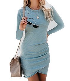 a92be687e7a Walant Womens Short Sleeve Sheath Dress Solid Color Irregular Hem Summer  Bodycon Mini Dress   You can obtain extra information at the photo web link.