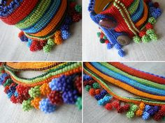 This is a crochet cuff made from quality cotton fibers and colorful seed beads with freeform crochet techniques.    Body of the cuff is crocheted with yellow cotton fiber and decorated with stripes of indigo blue, sky blue, lime green, lobster red, burgundy, dark olive green and orange beads. Lower part is decorated with a crocheted beaded clusters in orange, lobster red, lime green, burgundy, navy, indigo blue, sky blue, grass green and dark green tones. The closure part is crocheted with…