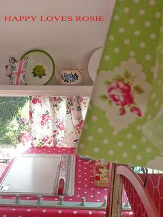 the other side of her vintage caravan