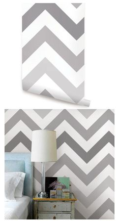 Chevron Cool Gray Peel and Stick Wallpaper  - Wall Sticker Outlet