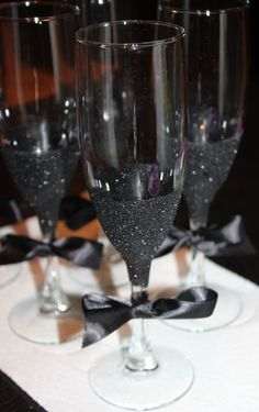 Rose Gold Wedding Toasting Flutes Personalized Glasses Engraved Champagne Bronze Set