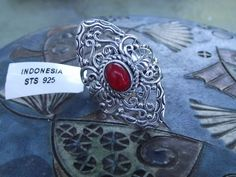 Red Ethiopian Welo Opal Sterling Silver Openwork Statement Ring. Size 5 #STSGems #Statement