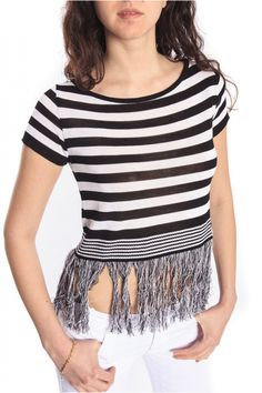 Denny Rose T-shirt/Top striped Black White Art & 46DR51009