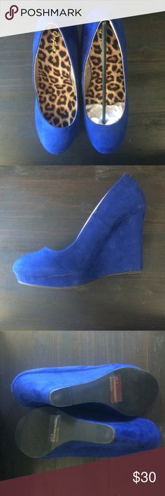 """NWOT Blue Suede 4.5"""" Wedges NEVER been worn. Way too tall for these bitches. 4.5"""" wedge heel. Got a UK football game? They're a perfect match. No Duke fans, please. Qupid Shoes Wedges"""