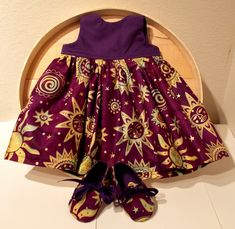 Purple Sun Moon and Stars Indian Batik Infant Dress & Booties by Bonniebabyboutique on Etsy