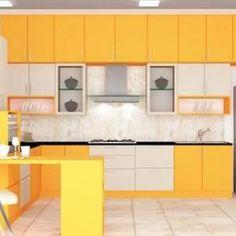 bright yellow modular kitchen design for small interior