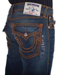 True Religion Mens Jeans Size 36 Straight with Flaps in Devils Post NWT $359 #TrueReligion #ClassicStraightLeg