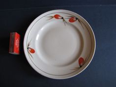 Vintage USSR Russia Latvia Factory RPF Riga Plate White Red Gold Hand painted