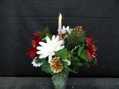 Solar Powered Flicker Light Candle Cemetery Flower Grave Vase Bush Decoration