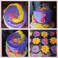 Rapunzel Cake and Cupcakes - Pink Sugar Cupcakes Tangled Birthday Party, Cinderella Birthday, Birthday Brunch, Birthday Cupcakes, Girl Birthday, Birthday Ideas, Birthday Parties, Cake Designs For Girl, Cake Design For Men