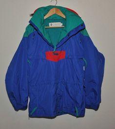 VINTAGE 90s Mens COLUMBIA SKI Parka Pullover Hood jacket Neon Blue, Red, Green  #Columbia #SKIJacket