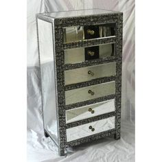 Chaandhi Kar Black Silver Metal Embossed Mirrored Chest Of Drawers Large Chest Of Drawers, Mirrored Furniture, Black Silver, Silver Metal, Emboss, Mirror Mirror, Free Delivery, Bedroom Ideas, Range
