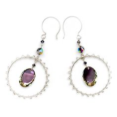 """Sterling Silver Earrings with Reflective Swarovski Crystals  This dangle earring bold and fun sterling hoops wrapped with glass seed beads and adorned with a vitrail mirror Swarovski bead. 2.5"""" drops. Sterling Silver french hoop earwires."""