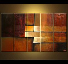Original Modern Abstract Acrylic Painting, Multi-Panel Painting Huge Painting by…
