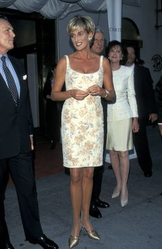 Diana, Princess of Wales in Catherine Walker with Jimmy Choo heels - Christie's Auction House, NYC, June 1997