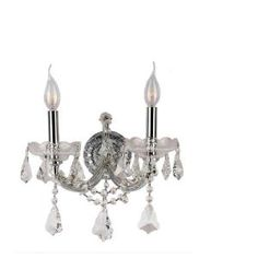 Worldwide Lighting Maria Theresa Collection 2-Light Chrome Sconce with Clear Crystal W23070C12 at The Home Depot - Mobile