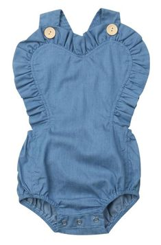 39240e7f91d SALE 45% OFF + FREE SHIPPING! SHOP Our Denim Ruffle Romper for Baby Girls