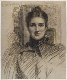 Brooklyn Museum J Carroll Beckwith - Portrait of Minnie Clark 1890s