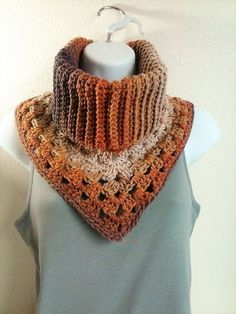 Granny Square Cowl with Collar - Ribbed Granny Stitch Cowl - Gradient Brown Cowl - Latte' Stripe Cowl - Triangular Cowl - Kerchief Scarf Crochet Scarves, Crochet Shawl, Crochet Lace, Free Knitting, Knitting Patterns, Bonnet Crochet, Crochet Neck Warmer, Hand Knit Scarf, Triangle Scarf