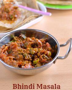 Bhindi Masala recipe - punjabi style, semi gravy and spicy bhindi masala recipe that is served as side dish with chapathis and rotis. Okra Recipes, Curry Recipes, Veggie Recipes, Indian Food Recipes, Whole Food Recipes, Vegetarian Recipes, Cooking Recipes, Vegan Vegetarian, Punjabi Recipes