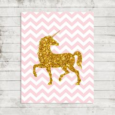 Gold Glitter Unicorn Printable Pink Chevron by laprintables