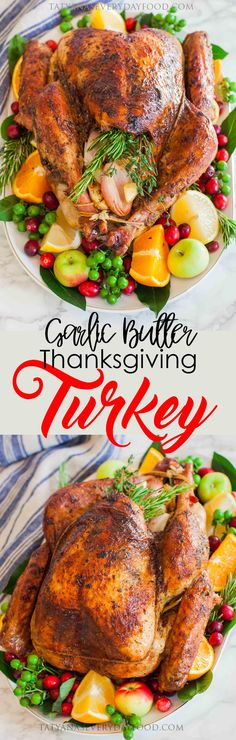 Garlic Butter Thanksgiving Turkey With Gravy - Tatyanas Everyday Food (thanksgiving 2017 decorations) Thanksgiving Turkey, Thanksgiving Recipes, Turkey Recipes, New Recipes, Dinner Recipes, Turkey Gravy From Drippings, Carving A Turkey, Tatyana's Everyday Food, Deserts