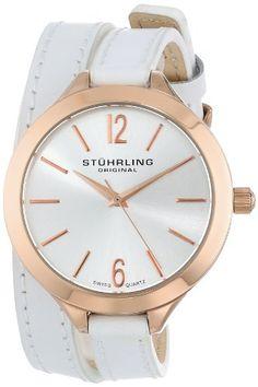 3f6315c51db Amazon.com  Stuhrling Original Women s 568.03 Deauville Sport Swiss Quartz  White Leather Wrap Around Watch  Watches