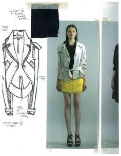 Fashion Sketchbook page - fashion sketch & outwear research - fashion design development; fashion portfolio // Gabriela Pazmino