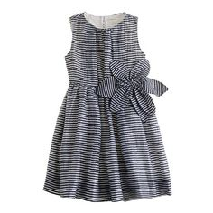 Girls' organza plumeria dress in mini stripe