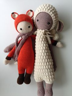Fibi the fox & Lupo the lamb made by Jeannette Sch. / crochet patterns by lalylala