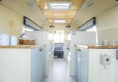 The Lindner family have converted an old 1969 ambulance into a custom campervan, with it also appearing on George Clarke's Amazing Spaces on Channel Picture: Matthew Usher. Motorhome Interior, Campervan Interior, Airstream, Glamping, Camping Con Glamour, Converted Vans, Caravan Decor, Van Home, Vintage Caravans
