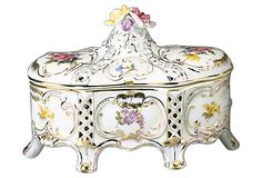 Rose Footed Box w/ Gold Trim Pretty Box, Tart, Vanity, Hand Painted, Rose, Accessories, Decorating, Jewelry, Music