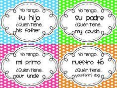 Family & Possessive Adjectives - Yo Tengo, ¿Quién Tiene? TPT $2 Possessive Adjectives Spanish, Spanish Grammar, Spanish Phrases, Spanish Teacher, Spanish Classroom, Spanish Games, Spanish 1, Spanish Activities, Classroom Games