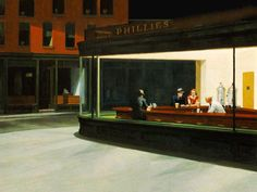 """Nighthawks"" Edward Hopper. 1942 Not quite sure why I like this one so much but I do."