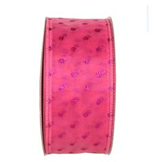 """Sheer Wire Edge Ribbon Pink with Glitter Dots 2.5"""" x 50 yds Wire Edge    $7.99"""
