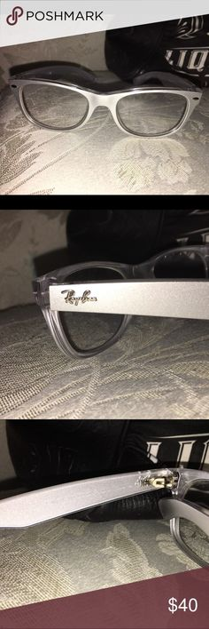 Womens eyeglasses Ray bans wayfarer silver and grey in great condition just a little bit of use, used them with my prescription for stigmatism but now had to change them for stronger pair so have to say goodbye to these. Hope someone else can enjoy them like I did. Ray-Ban Accessories Glasses