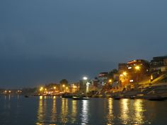 Varanasi from the Ganges at sunset - the ghats are on the right