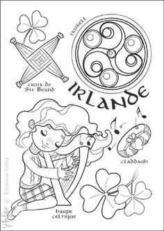 coloriage irlande - Great site for coloring pages of digital images. Colouring Pages, Adult Coloring Pages, Coloring Books, Around The World Theme, Kids Around The World, Little Passports, World Thinking Day, World Geography, Digi Stamps