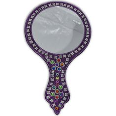 Purple Round Handcrafted Hand Mirror: Amazon.co.uk: Kitchen & Home