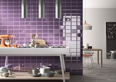 How about a splash of color in your kitchen? This purple tile is gorgeous! CAPCO Tile's Cento per Cento Violet by Imola. 2018 Interior Design Trends, Purple Kitchen, Kitchen Showroom, Tile Suppliers, Ceramic Wall Tiles, Wall And Floor Tiles, Kitchen Photos, Cozy Living Rooms, Flooring