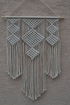 Dimensions: The length from the wooden plank to the bottom, including the thread inches The width of wooden plank 61 cm 24 inches Width inches Macrame Wall Hanger, Macrame Wall Hanging Patterns, Macrame Plant Holder, Macrame Patterns, Modern Macrame, Plank, Teen Wall Art, Baby Girl Crochet, Macrame Design