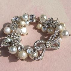 wedding braclet - Lins, an idea for some of the left over brooches?