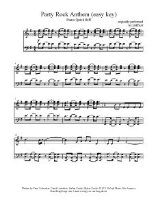 Party Rock Anthem - LMFAO (easy key). Find more free sheet music at www.PianoBragSongs.com.